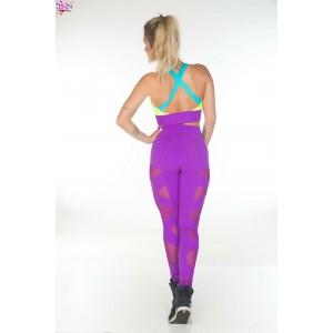 Легинсы для фитнеса фиолетовые с сеткой