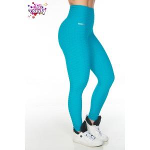 Спортивные легинсы с завышенной талией голубые Jacquard blue