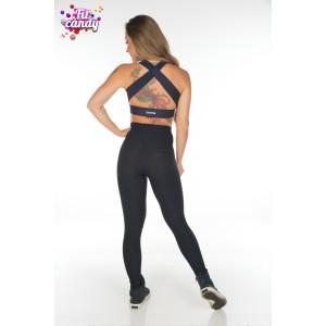 Легинсы для фитнеса с высокой талией черные Jacquard black
