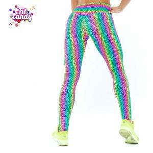 Спортивные яркие легинсы Rainbow leopard