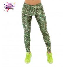 Лосины для йоги с юбкой Green Camo
