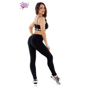 Костюм для фитнеса лосины с высокой талией и топ Elegant Black
