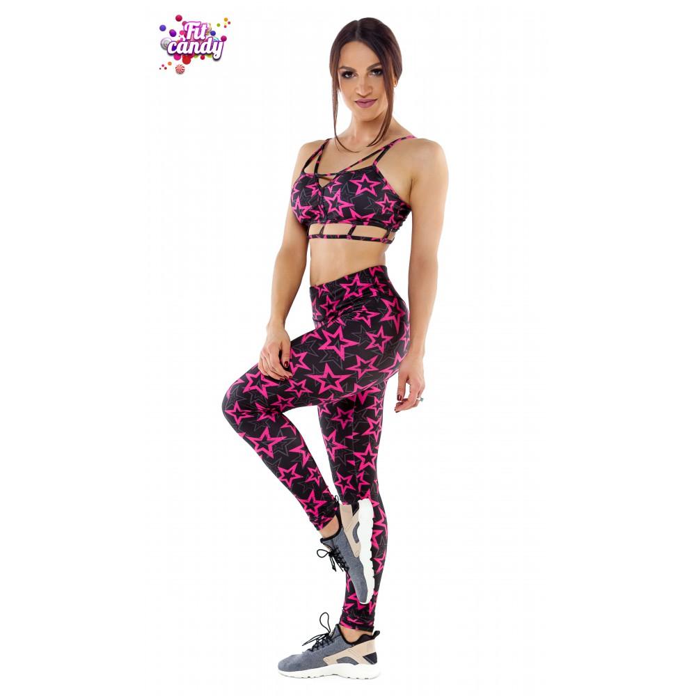 ef3e4275af5ff Купить костюм для спорта лосины и топ Pink Star
