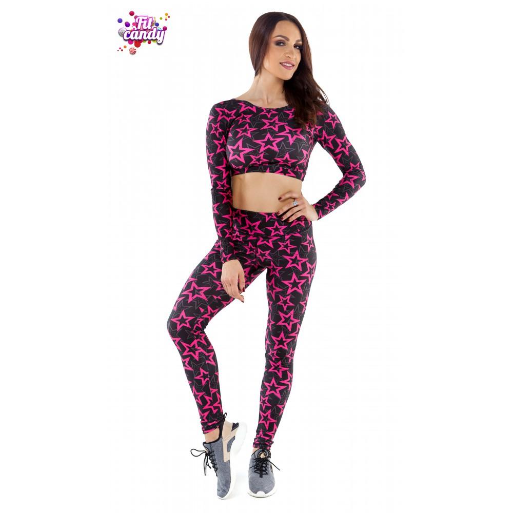 224297b664338 Купить костюм спортивный легинсы и короткий рашгард Pink Star