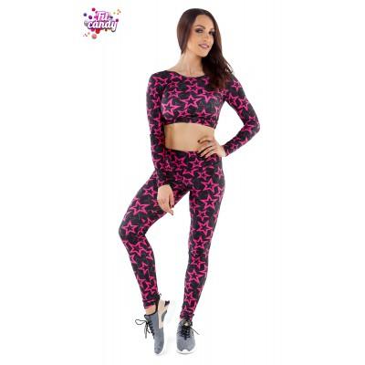 Костюм спортивный легинсы и короткий рашгард Pink Star