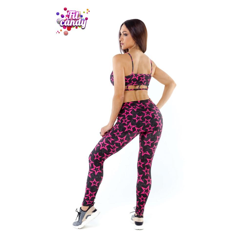 1c7db0a3c46ab ... Костюм для фитнеса лосины с юбочкой и топ Pink Star ...
