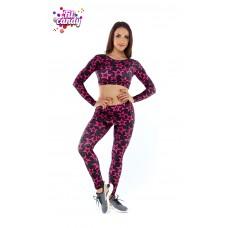 Костюм для фитнеса легинсы с юбочкой и короткий рашгард Pink Star