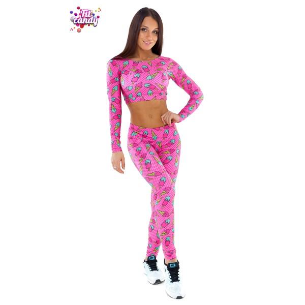 Костюм для фитнеса леггинсы и короткий рашгард Pink Ice