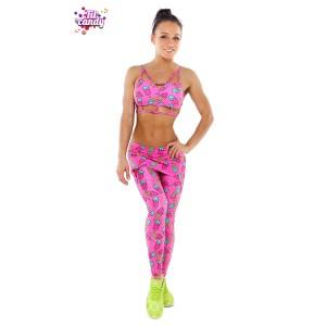 Костюм лосины с юбочкой и топ спортивный Pink Ice