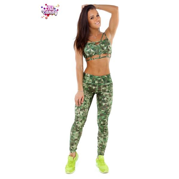Костюм спортивный лосины и топ для фитнеса Green Camo