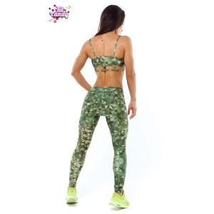 Костюм спортивный лосины с юбкой и топ для фитнеса Green Camo