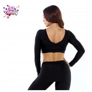 Короткая футболка для фитнеса Elegant Black