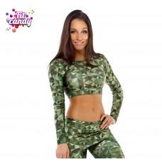 Майка для фитнеса с длинным рукавом Green Camo